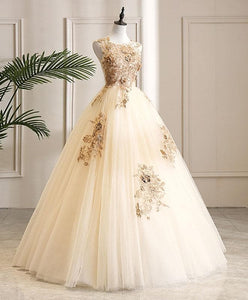 Champagne Tulle Lace Long Prom Dress Champagne Evening Dress A006 - DelaFur Wholesale