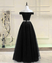 Load image into Gallery viewer, Black Tulle Sequin Long Prom Dress, Black Tulle Evening Dress - DelaFur Wholesale