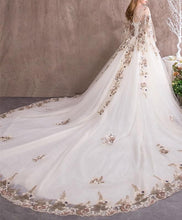 Load image into Gallery viewer, Unique Sweetheart Tulle Lace Applique Long Wedding Dress, Evening Dress - DelaFur Wholesale