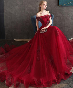 Burgundy Tulle Lace Long Prom Dress Burgundy Tulle Evening Dress A010 - DelaFur Wholesale