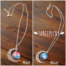 Load image into Gallery viewer, Blue/Red Galaxy Stars Pastel Moon Long Chain Necklace SP141541 - SpreePicky  - 5