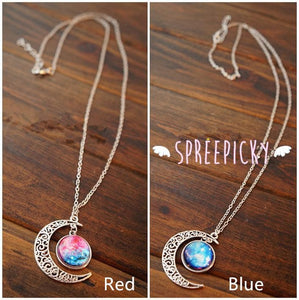 Blue/Red Galaxy Stars Pastel Moon Long Chain Necklace SP141541 - SpreePicky  - 5