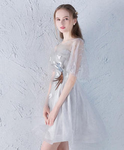 Cute Gray Tulle Short Prom Dress, Gray Homecoming Dress - DelaFur Wholesale