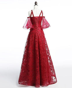 Unique Off Shoulder Tulle Lace Burgundy Long Prom Dress, Evening Dress - DelaFur Wholesale