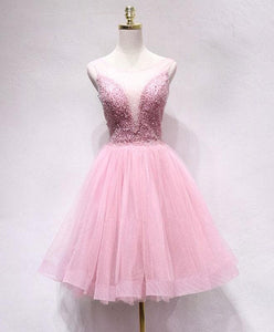 Pink Tulle Sequin Short Prom Dress, Pink Homecoming Dress - DelaFur Wholesale