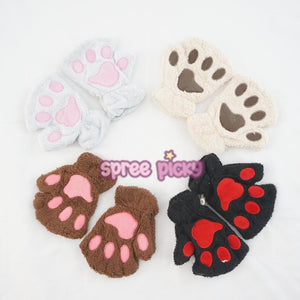 5 Color Kawaii Cat Paw Plush Glove SP167636