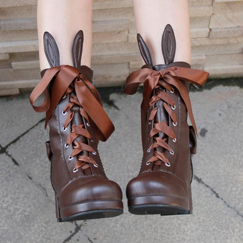 Free Shipping Black Kawaii Bunny Rabbit Ribbon Lolita High Boots SP1710660
