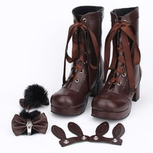 Load image into Gallery viewer, Free Shipping Black Kawaii Bunny Rabbit Ribbon Lolita High Boots SP1710660