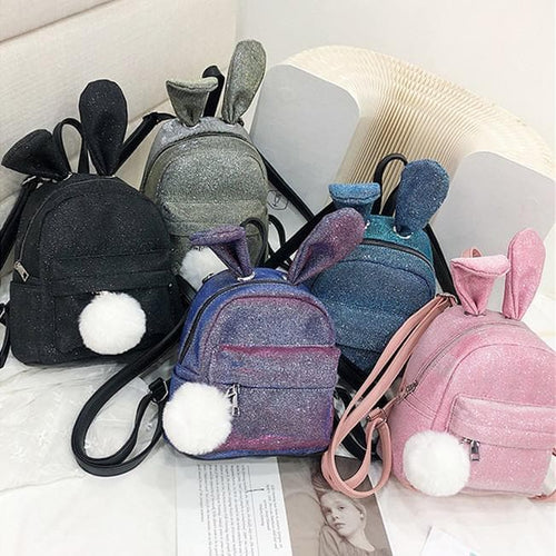 5 Colors Kawaii Paillette Bunny Ears Backpack SP14055