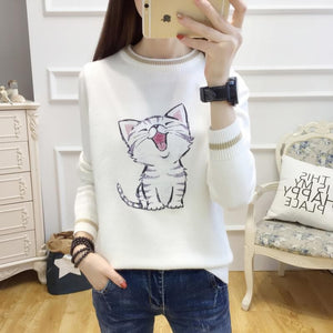5 Colors Laughing Cat Kitty Sweater S13078
