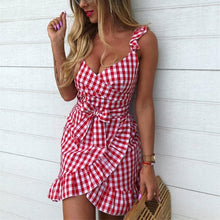 Load image into Gallery viewer, 5 Colors Sweet Falbala Grid Dress SP14163