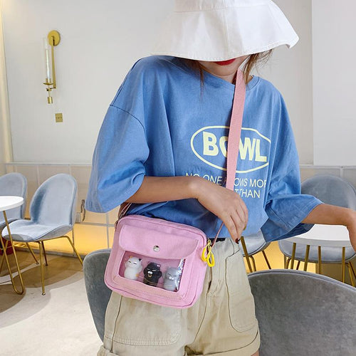 5 Colors Transparent Canvas Cross Body Bag SP14129