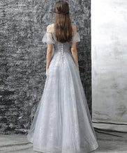 Load image into Gallery viewer, Gray Tulle Lace Long Prom Dress, Gray Evening Dress - DelaFur Wholesale