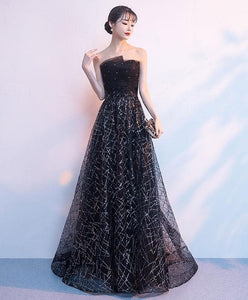 Black Tulle Sequin Long Prom Dress, Black Sequin Evening Dress - DelaFur Wholesale
