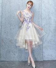 Load image into Gallery viewer, Light Champagne Tulle Lace Short Prom Dress, Lace Homecoming Dress - DelaFur Wholesale
