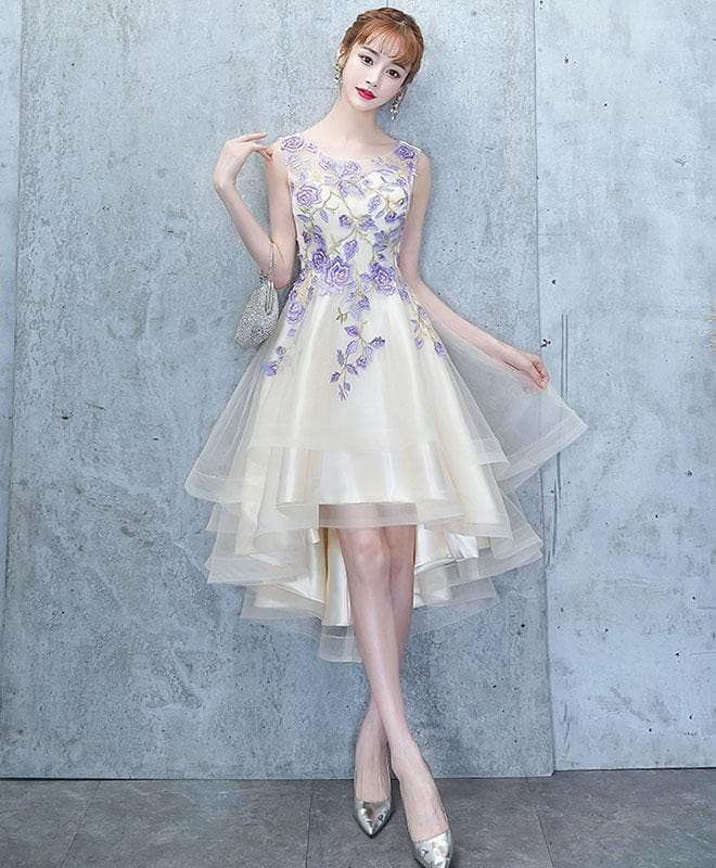 Light Champagne Tulle Lace Short Prom Dress, Lace Homecoming Dress - DelaFur Wholesale