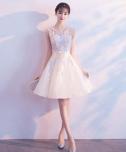 Light Champagne Tulle Lace Short Prom Dress, Tulle Homecoming Dress - DelaFur Wholesale