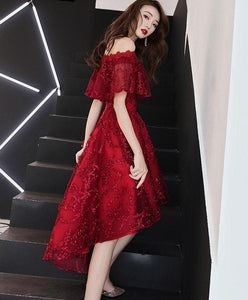 Burgundy Tulle Lace Short Prom Dress Burgundy Homecoming Dress A027 - DelaFur Wholesale