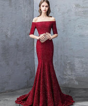Load image into Gallery viewer, Unique Burgundy Mermaid Long Prom Dress, Burgundy Evening Dress - DelaFur Wholesale