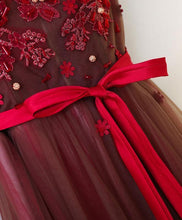 Load image into Gallery viewer, Burgundy V Neck Lace Applique Tulle Long Prom Dresses - DelaFur Wholesale