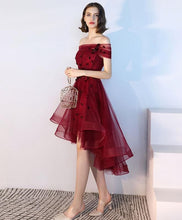 Load image into Gallery viewer, Burgundy Tulle Lace Short Prom Dress, Burgundy Tulle Evening Dress - DelaFur Wholesale