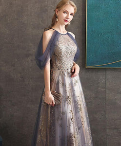 Gray Blue High Neck Tulle Lace Long Prom Dress Gray Tulle Formal Dress A037 - DelaFur Wholesale