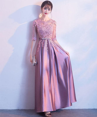 Pink A-Line Lace Long Prom Dress Pink Lace Bridemaid Dress - DelaFur Wholesale