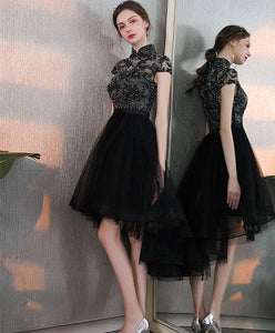Black Tulle Lace Short Prom Dress, Black Homecoming Dress - DelaFur Wholesale