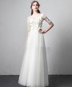 White Round Neck Tulle Long Prom Dress, White Evening Dress - DelaFur Wholesale