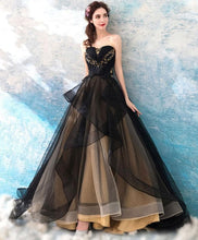 Load image into Gallery viewer, Black Sweetheart Neck Tulle Long Prom Dress, Black Evening Dress - DelaFur Wholesale