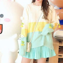 Load image into Gallery viewer, Sweet Pink/Cyan Rainbow Striped Sweater SP15183