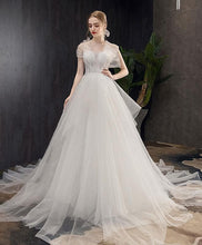 Load image into Gallery viewer, White Tulle Long Wedding Dress, White Tulle Long Bridal Dress - DelaFur Wholesale