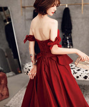 Load image into Gallery viewer, Burgundy Sweetheart Long Prom Dress, Simple Burgundy Evening Dress - SpreePicky FreeShipping