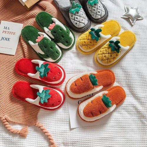 Warm Cute Plush Fruit Cotton Slippers SP15401