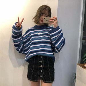 Loose Wild Striped Student Sweater SP14391 - SpreePicky FreeShipping