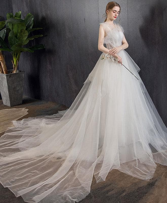 White Tulle Long Wedding Dress, White Tulle Long Bridal Dress - DelaFur Wholesale