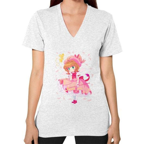 Wonderful Sakura V-Neck Woman Tee Shirt - SpreePicky  - 2