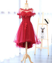 Load image into Gallery viewer, Red Round Neck Lace Tulle Short Prom Dress - DelaFur Wholesale