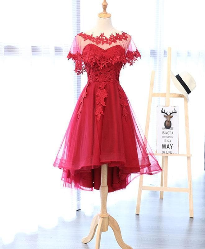Red Round Neck Lace Tulle Short Prom Dress - DelaFur Wholesale