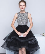 Load image into Gallery viewer, Cute Black Tulle Sequin Prom Dress, Black Homecoming Dress - DelaFur Wholesale
