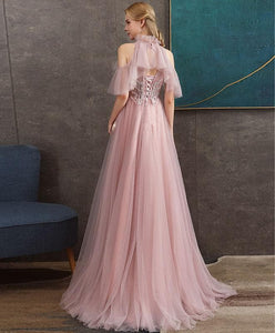 Pink Tulle Lace Long Prom Dress Pink Tulle Formal Dress - DelaFur Wholesale