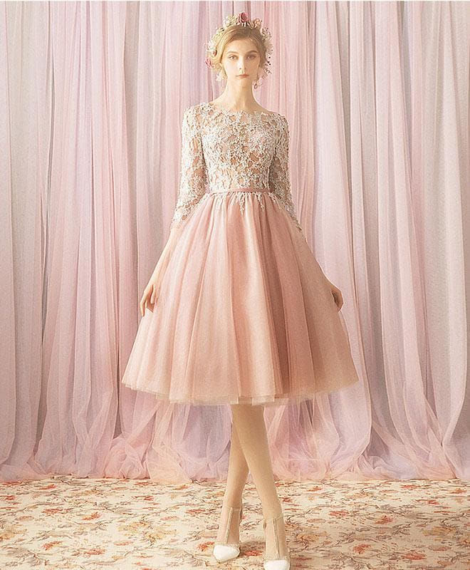 Pink Round Neck Tulle Lace Short Prom Dress, Bridesmaid Dress - DelaFur Wholesale