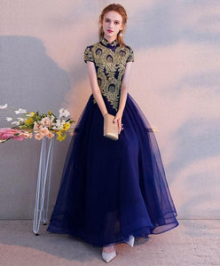 Blue High Neck Lace Tulle Tea Length Prom Dress, Tulle Evening Dress - DelaFur Wholesale