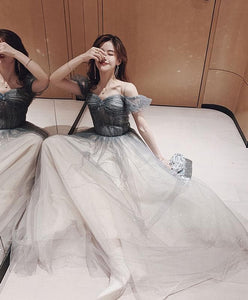 Gray Sweetheart Tulle Long Prom Dress Off Shoulder Tulle Formal Dress - DelaFur Wholesale