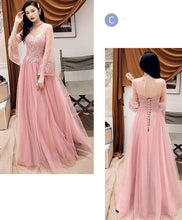 Load image into Gallery viewer, Pink Tulle Lace Long Prom Dress, Pink Tulle Lace Bridesmaid Dress - DelaFur Wholesale