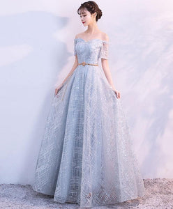 Unique Tulle Gray Long Prom Dress, Tulle Gray Evening Dress - DelaFur Wholesale
