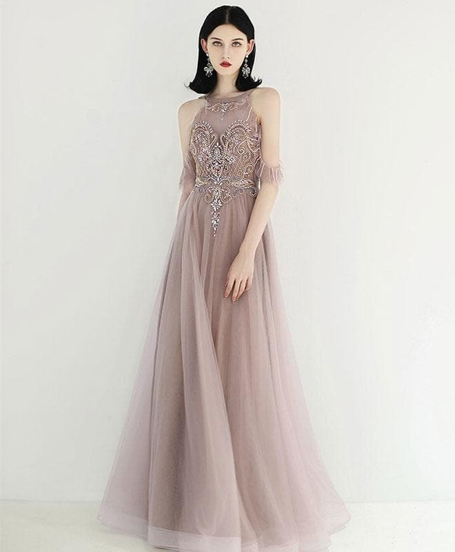 Unique Tulle Beads Long Prom Dress, Tulle Formal Dress - DelaFur Wholesale