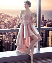 Load image into Gallery viewer, Pink Lace Satin High Low Prom Dress, Homecoming Dress - DelaFur Wholesale