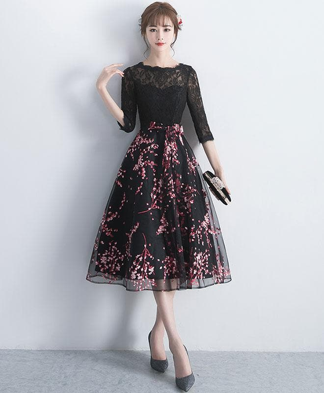 Black Lace Tulle Short Prom Dress, Black Lace Bridesmaid Dress - DelaFur Wholesale