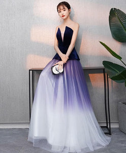 Simple V Neck Tulle Purple Long Prom Dress, Purple Evening Dress - DelaFur Wholesale